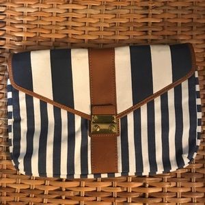 J Crew Factory blue/white stripped with brass hw